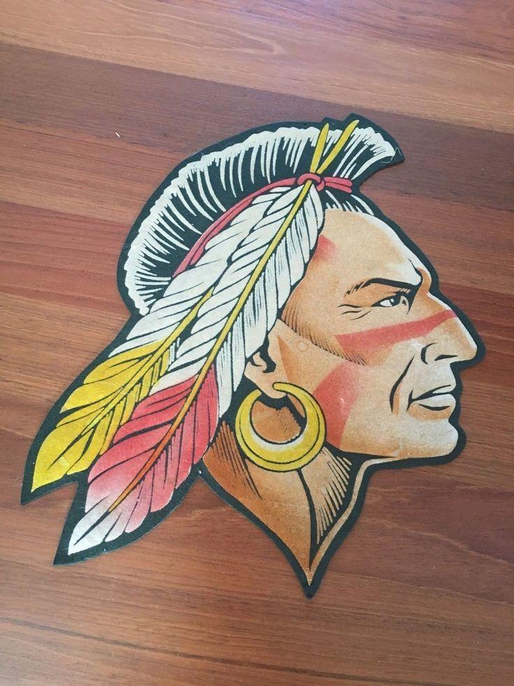 "Incredible 15"" Vintage Felt Letterman Patch Dartmouth University Indian (native)"