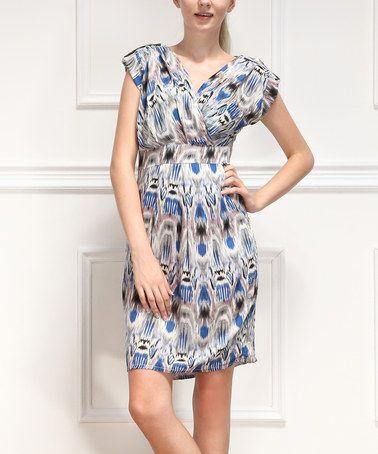 Love this Blue Ikat Surplice Dress - Women on #zulily! #zulilyfinds