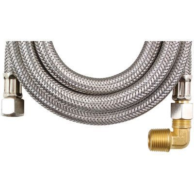 Certified Appliances 10' Braided Stainless Steel Dishwasher Hose with Elbow