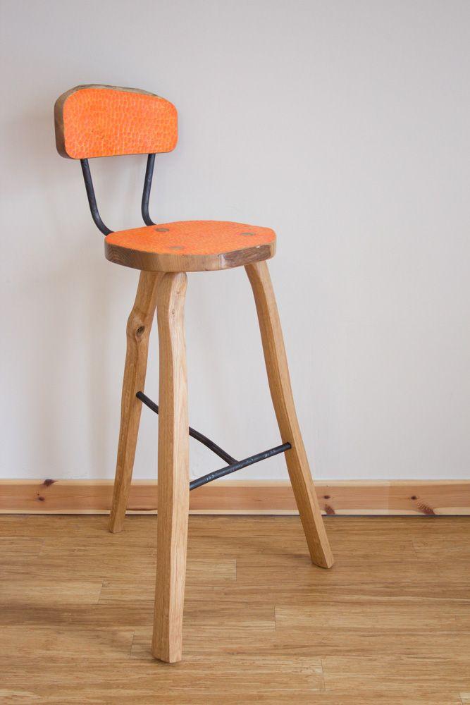 Bar stool - Bright orange with riven Oak legs