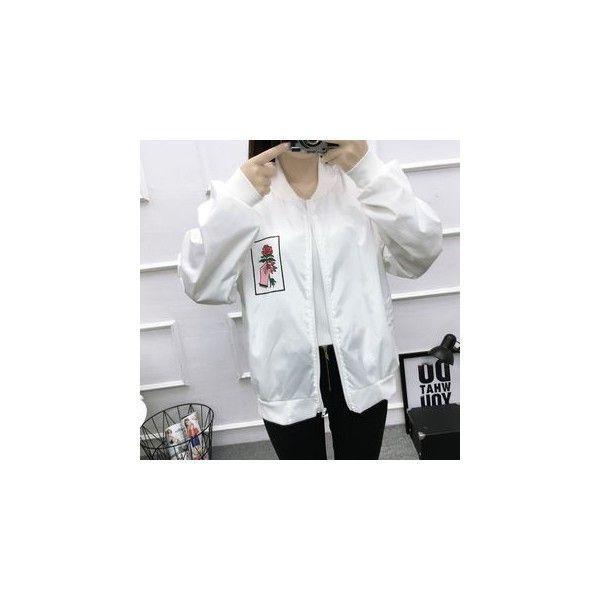 Printed Bomber Jacket (320 EGP) ❤ liked on Polyvore featuring outerwear, jackets, women, flight jackets, white bomber jackets, white flight jacket, nylon bomber jacket and shiny jacket