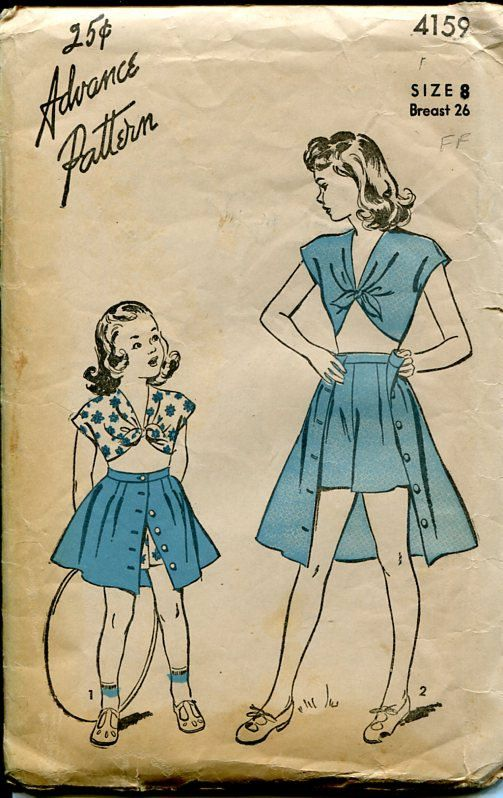 Advance 4159  1940s Girl's Playsuit sewing by PengyPatterns, $15.00