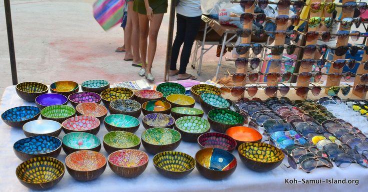 Coloured bowls at walking street market Bophut Koh Samui #bophut #kohsamui #thailand