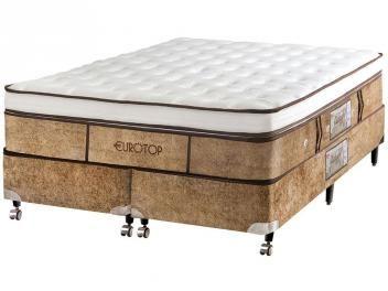 Cama Box King Size (Box + Colchão) Castor - Mola 59cm de Altura Eurotop Supreme New