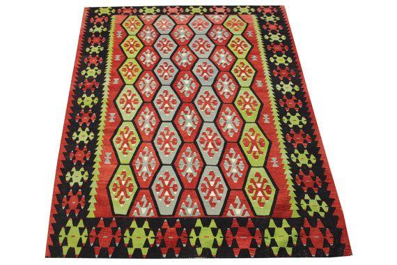 Turkish Handmade Kilim rugs 96 x 67 Feet  by stripepattern on Etsy