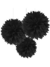 Black Fluffy Decorations - Party City  Perfect to hang around the house. Adds a little extra flair to a masquerade party! ;)