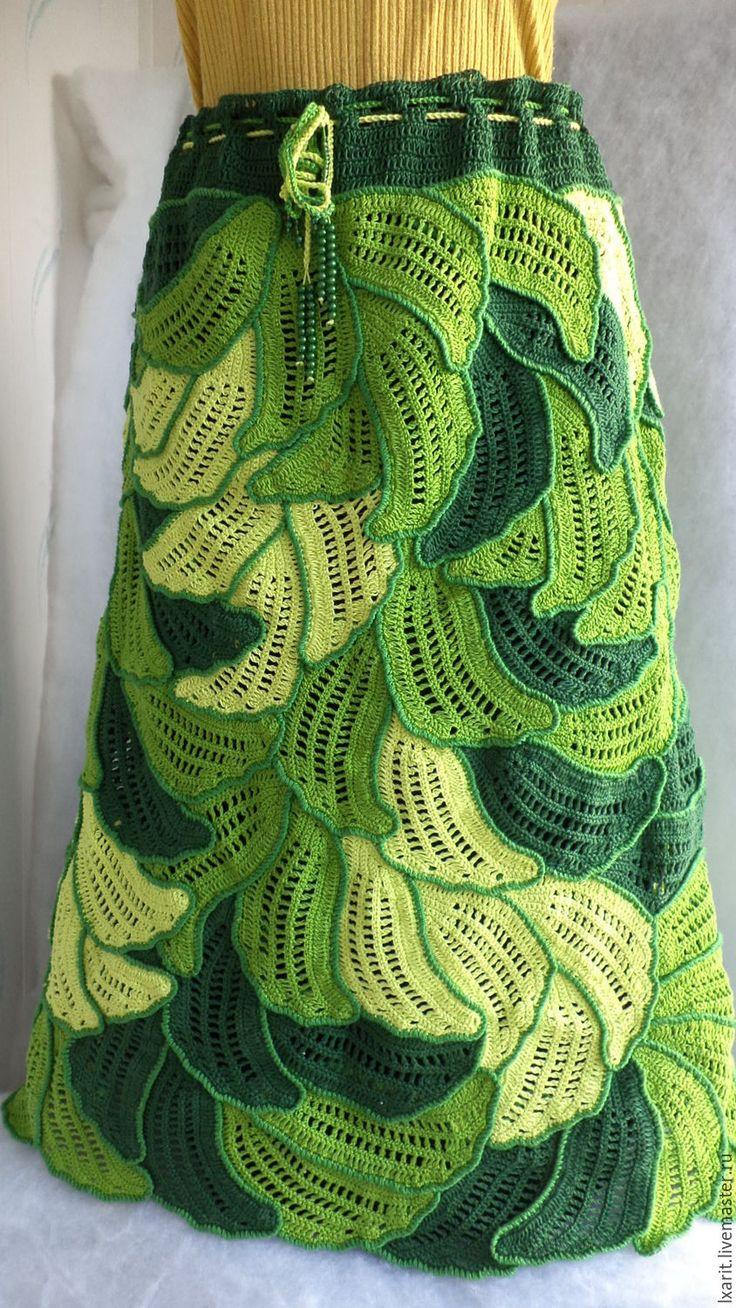 """Купить Юбка """"Лето"""" - зеленый, цветочный, ажурный узор, юбка длинная, хлопок 100%, крючок"""