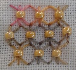 Sheaf stitch with Beads • great filler stitch for CQ or any project