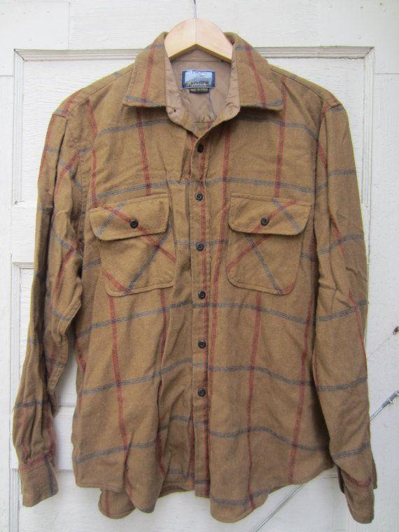 80s Fieldmaster Plaid Wool Shirt, Men's L