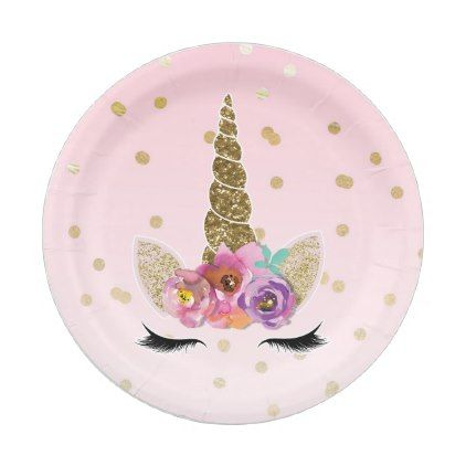 Pink & Gold Unicorn Floral Horn Birthday Party Paper Plate - unicorn birthday diy gift idea present unicorns customize