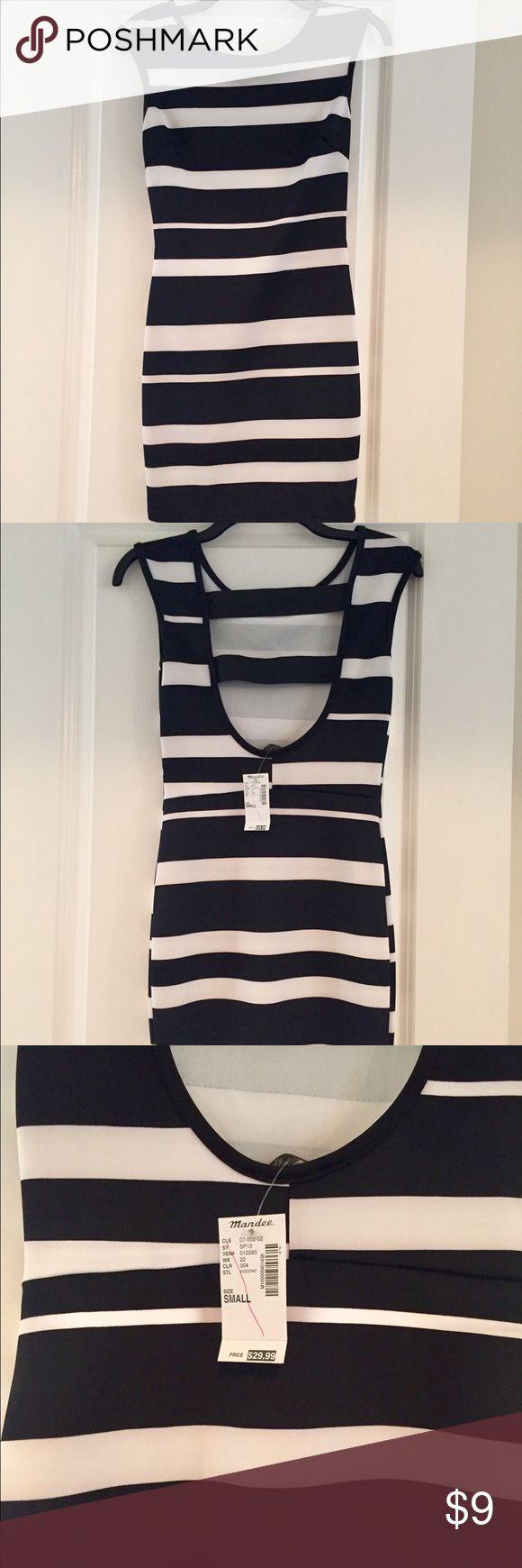 Mandee black and white stripe dress NWT Mandee black and white stripe cocktail dress, open back, size S, brand new with tags Mandee Dresses Mini