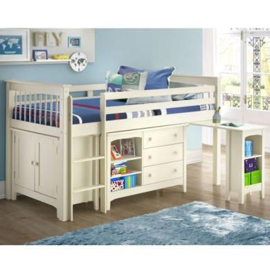 Oxford Stone White Mid Sleeper Bed - Ladder fixes to either side! | Furniture123