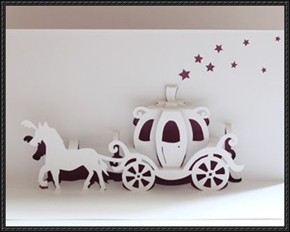 Walt Disney Cinderella Carriage Pop-Up Card Free Paper Craft Template Download http://www.scribd.com/doc/245939440/Cinderella-Carriage-Origamic-Architecture
