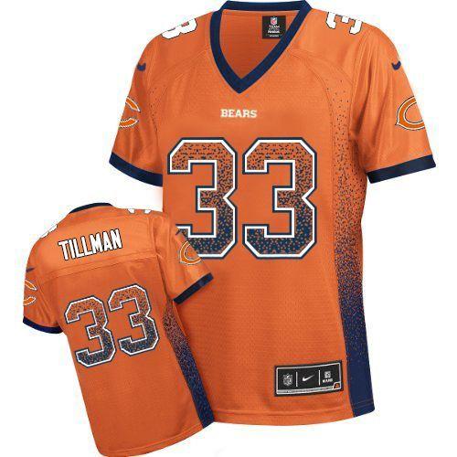 $109.99 Women's Nike Chicago Bears #33 Charles Tillman Elite NFL Drift Fashion Orange Jersey