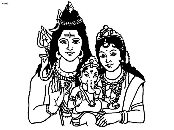 Lord Shiva Graphic Images: Shiva Parvati Ganesh Coloring Page