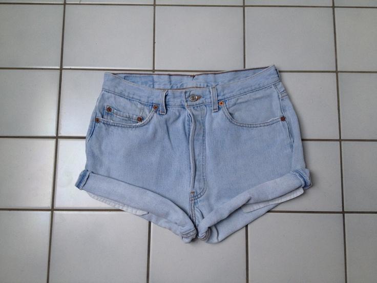 Levis Levi's 501 High Waist Jeans Hellblau Shorts Hot Pants W33 M Vintage Retro Urban Hose