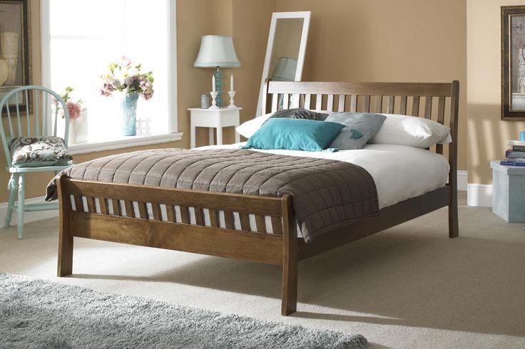 St George Dark Solid Oak Bed Frame 5ft - King Size | The Oak Bed Store