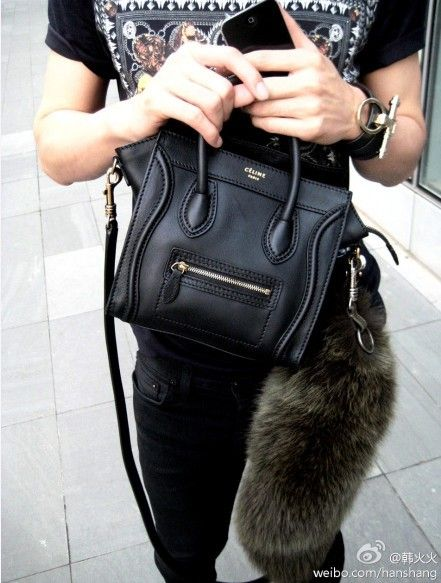 celine black fur handbag