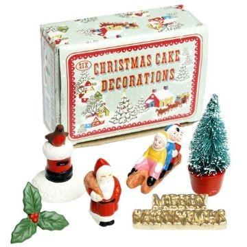 Vintage Christmas Cake Decoration Set