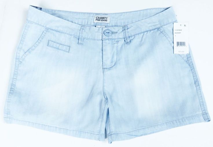 CELEBRITY PINK JEANS NEW CASUAL FLAT FRONT CHAMBRAY LIGHT BLUE SHORTS SIZE 1 #CelebrityPink #KhakiChino