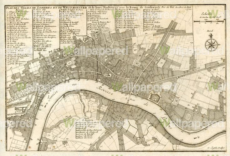 Antique City Plan of London 1700 Wall Mural. Many others to choose from also