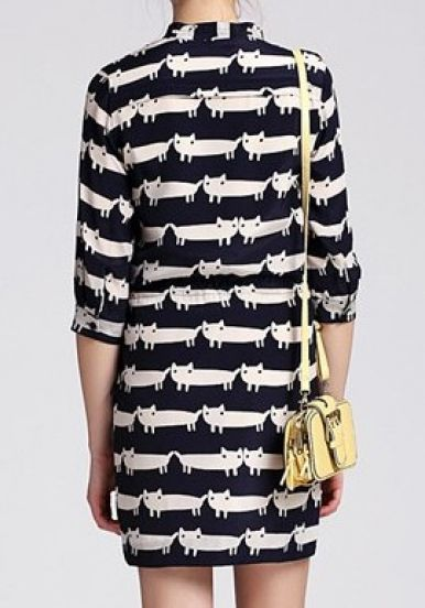 #SheInside Navy Apricot Half Sleeve Cats Print Drawstring Dress - Sheinside.com