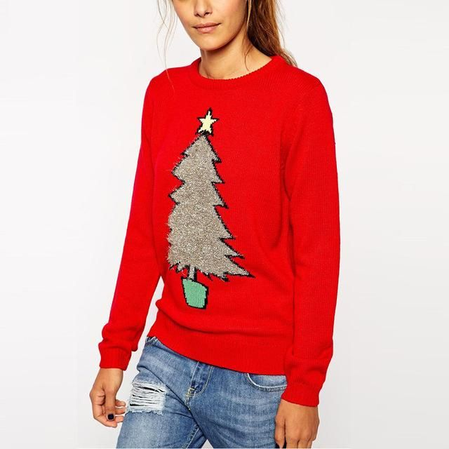 Long Sleeve Xmas Tree Print Knitted Christmas Sweater - Avenue of Angels