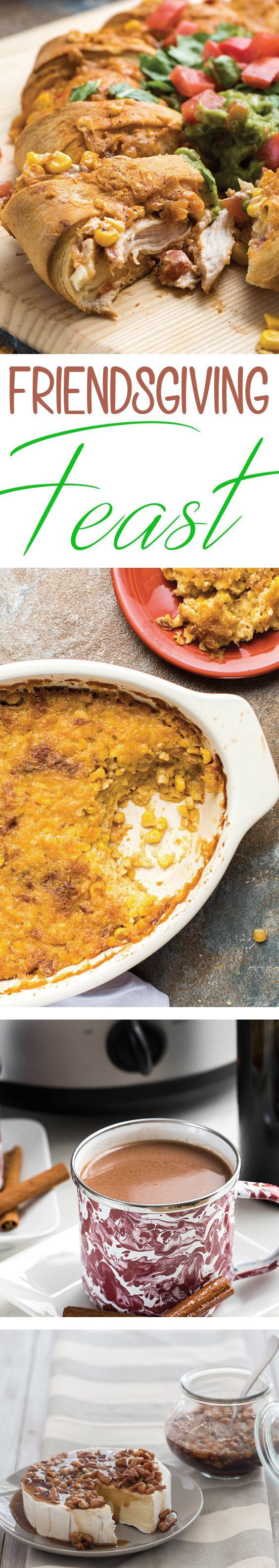 Host a Friendsgiving feast with these recipes for a Turkey Taco Crescent Ring, Chipotle Corn Pudding, Pecan Pie Brie and Slow Cooker Red Wine Hot Chocolate from McCormick Spice. #thanksgiving #friendsgiving #fall #holidays #turkey #taco #recipe #food #pecanpie #pie #brie #cornpudding #thanksgivingside #slowcooker #wine #hotchocolate