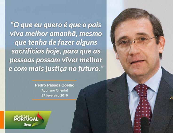 Pedro Passos Coelho, Presidente do Partido Social Democrata, em entrevista ao jornal Açoriano Oriental #PSD #acimadetudoportugal