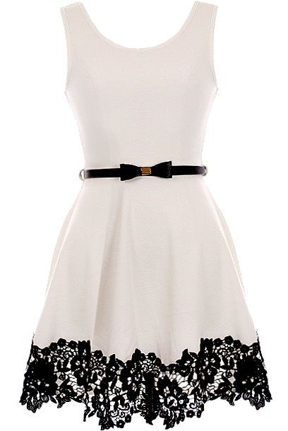 Pretty Lady Dress: Features a classic scoop neckline, contrast skinny belt at waist crowned with a super cute bow, perfect ladylike A-line skirt, and romantic black lace circling the hem to finish. -I'd like this a a shirt