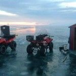 Ice Fishing On Lake Erie – The Thrilling Winter Beauty of Lake Erie Shores & Islands via Tourist Meets Traveler. ATV's on frozen Lake Erie, Winter 2013-2014.