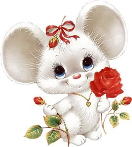 Cute Mouse with Red Rose - love, Valentine's Day, Mother's Day, Anniversary --- I'm not sure if this one will work well in CW because of all the white, but it I figure doesn't hurt to pin it for anyone who wants to try.