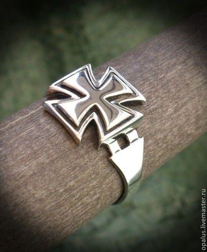 """Украшения для мужчин, ручной работы. Ярмарка Мастеров - ручная работа перстень """"Черный крест"""". Handmade."""