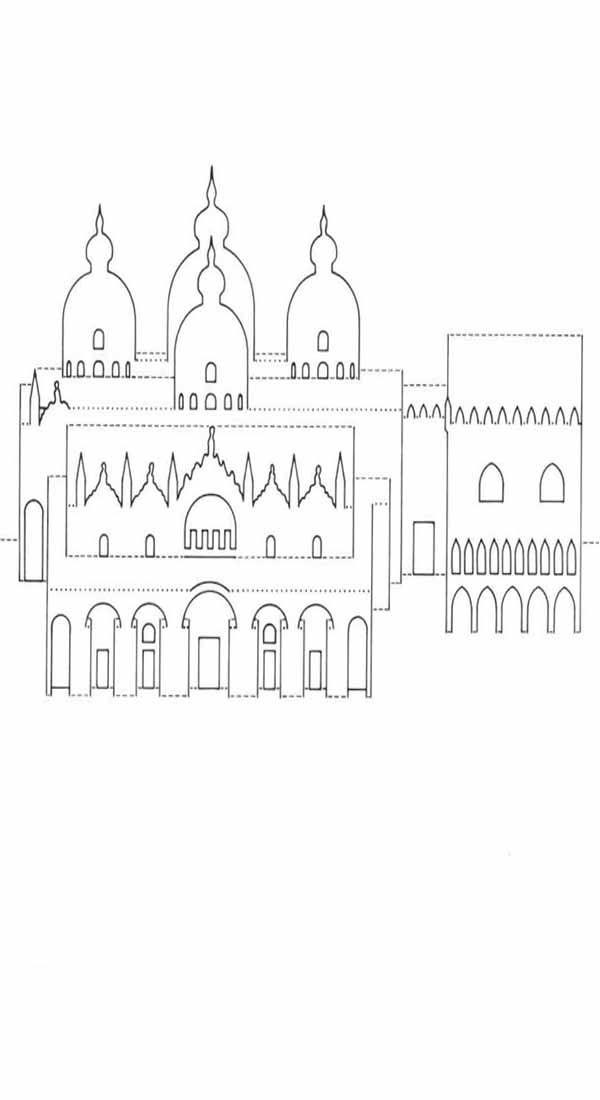 Киригами схема Собора Святого Маркуса