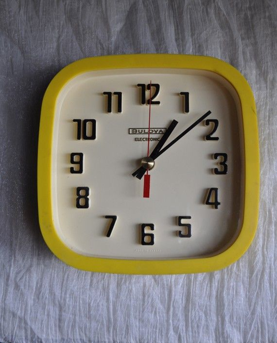 Vintage Bulova Wall Clock Yellow Modern Mid by drowsySwords