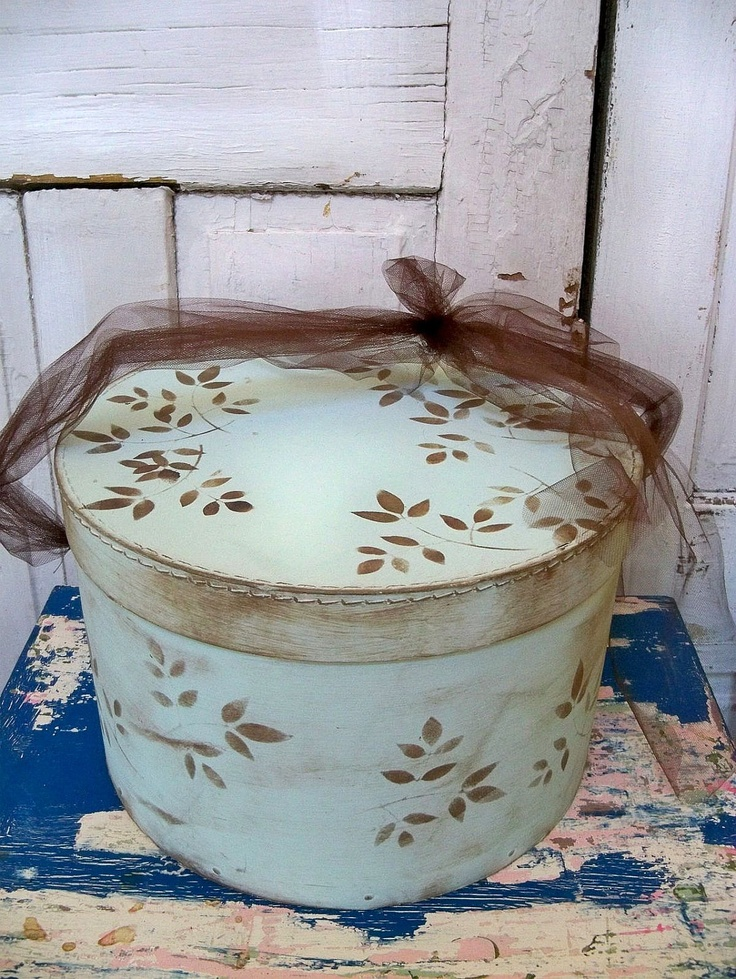 Hand painted light robins egg blue hat box decorated large round organizer storage Anita Spero. $51.00, via Etsy.