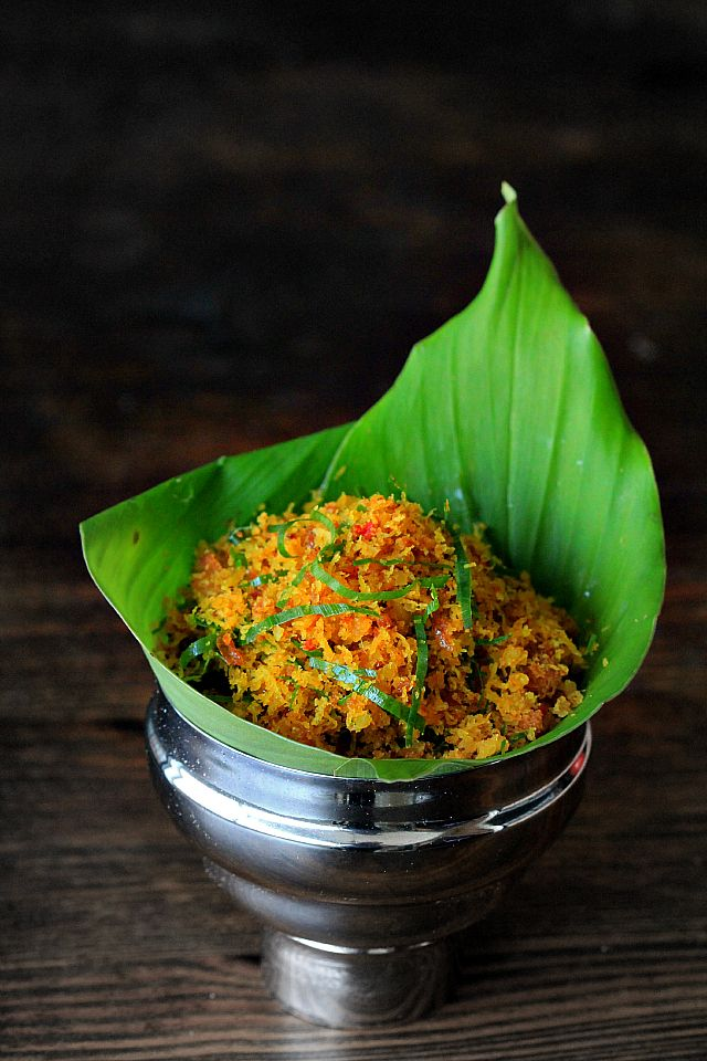 Indonesian serundeng (spiced grated coconut)