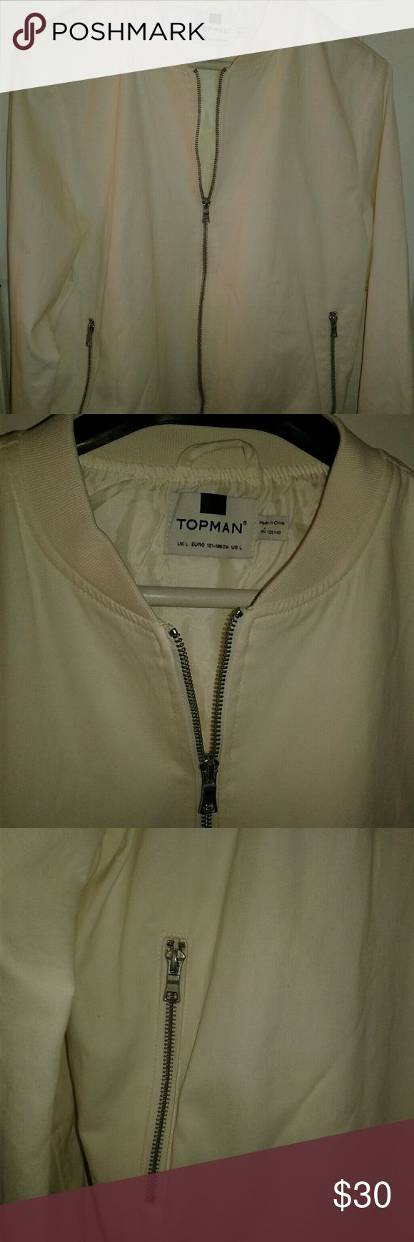 *NWOT* Topman bomber style Jacket Large light weight Topman jacket. Worn once and laundered. Silver zippers on front pockets and down the front. Fully lined. Great for spring and summer. Tag says large but it's a small large in my opinion. Topman Jackets & Coats Bomber & Varsity