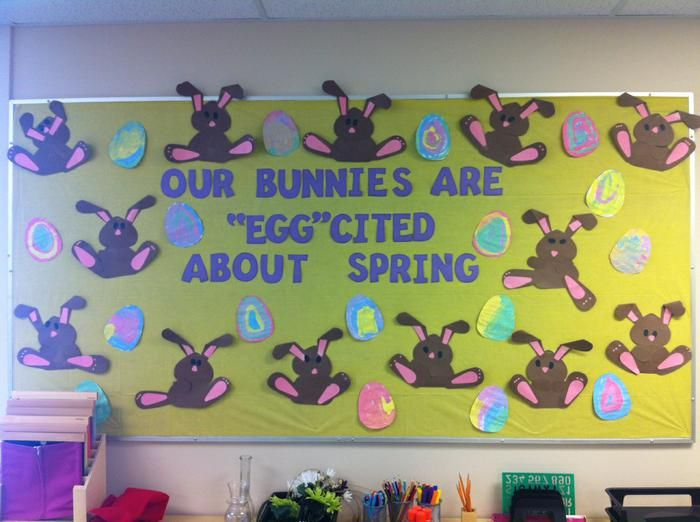 "easterg bulletin boards for preschool | Our Bunnies Are ""Egg""cited About Spring! - Spring Bulletin Board"