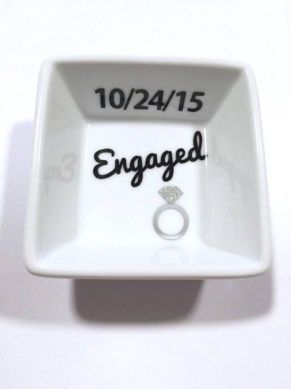 Personalized Rng Dish, Engaged Ring Dish, Engagement Ring Dish, Ring Holder, Engagement Gift, Future Mrs Gift, Mrs Ring Dish, Engagement   – Engagement gift ideas