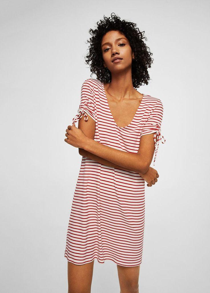 Stripe textured dress -  Women   MANGO USA
