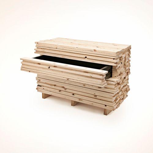 Cassettiera a 4 cassetti in legno massello in finitura naturale. dimensioni cm.135xh.86xprof.53 = Collezione : LANGOLO Home Living