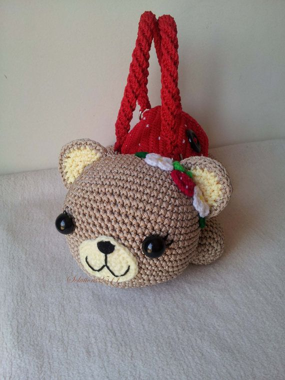 Teddy Bear cherry Handmade crochet handbag by Solutions2511