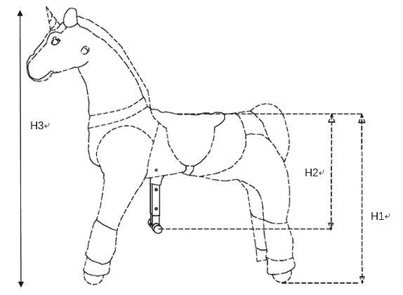 UFREE-HORSE perfil, el paseo en caballo de juguete en movimiento y la acción de juguete de caballo.