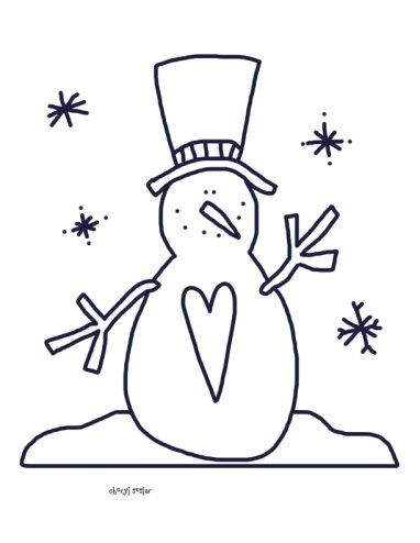 For the Love of Snow - Snowman Coloring Page