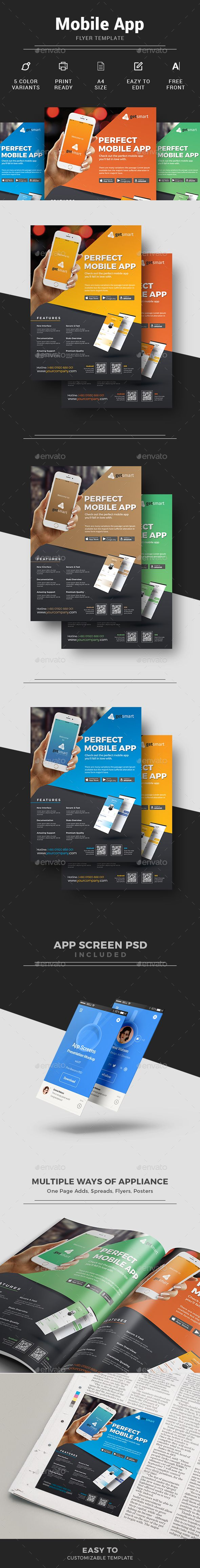 #Mobile #App Flyer - Commerce #Flyers Download here: https://graphicriver.net/item/mobile-app-flyer/16149992?ref=alena994
