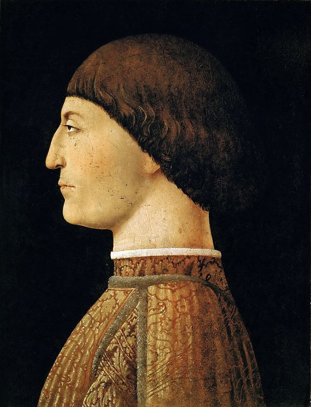 Pandolfo Malatesta (1417–1468), lord of Rimini, by Piero della Francesca. Malatesta was a capable condottiere, following the tradition of his family. He was hired by the Venetians to fight against the Turks (unsuccessfully) in 1465, and was patron of Leone Battista Alberti, whose Tempio Malatestiano at Rimini is one of the first entirely classical buildings of the Renaissance.