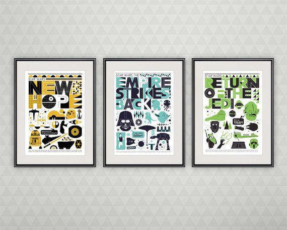 Star Wars Poster set minimalist movie print Original door handz