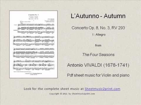 Vivaldi : Four Seasons - Autumn 1/3 www.sheetmusic2print.com/Vivaldi/Four-Seasons-Autumn.aspx
