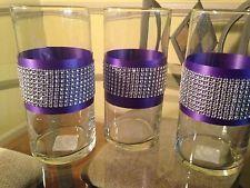 cylinder rhinestone vase | Glass Cylinder Vases Purple and Bling